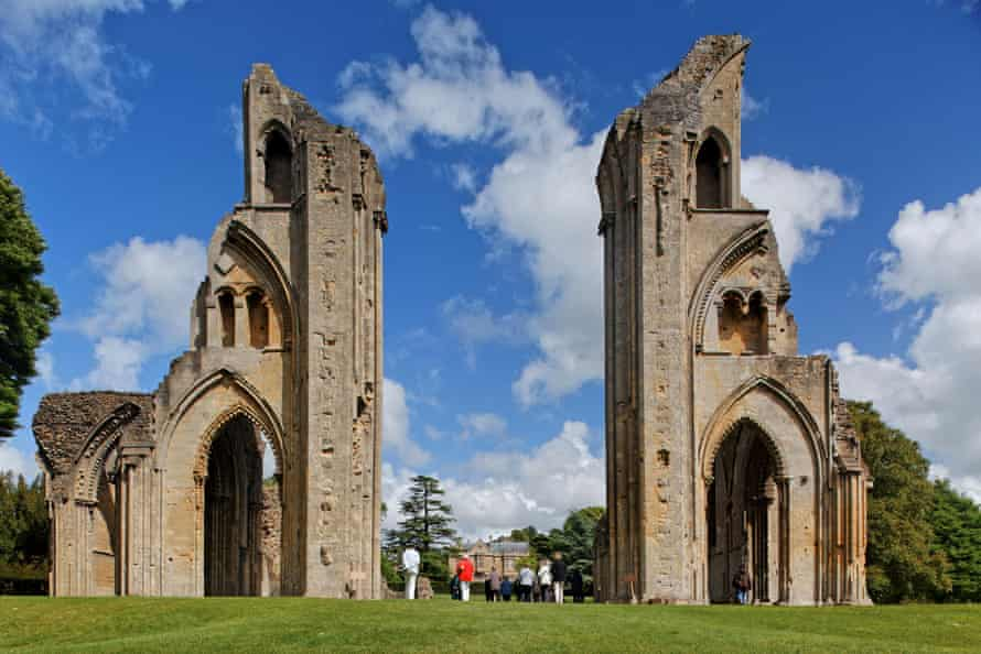 The ruined Glastonbury Abbey.