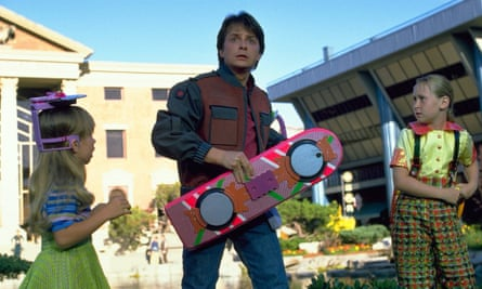 Marty McFly with his hoverboard