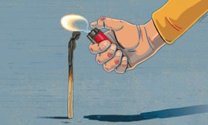 An illustration of a match stick with a woman's head and a hand holding a lit lighter to the top of it