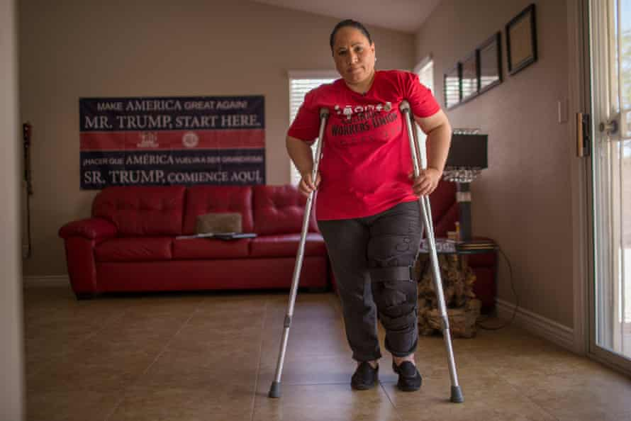 Maricella Olvera, who slipped and fell, severely injuring her knee, while at work.