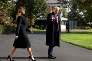Donald and Melania Trump on Saturday leave the White House to fly to Alabama. Trump told reporters: 'I will give you a second transcript, because I had two calls with the president of Ukraine.'