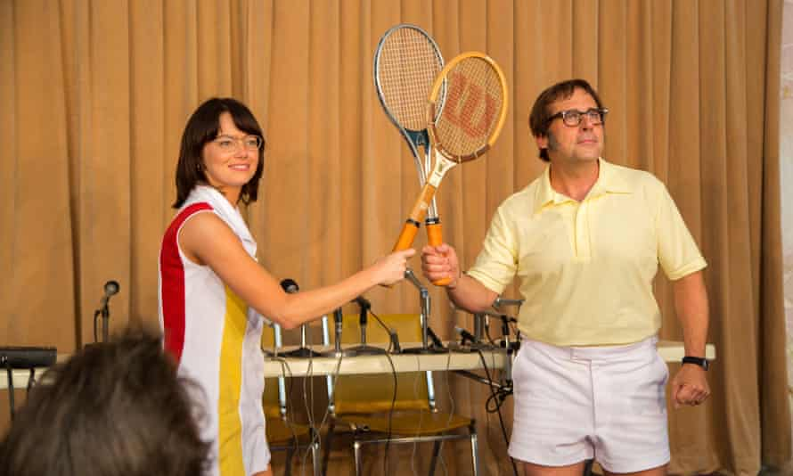 Emma Stone as Billie Jean King and Steve Carell as Bobby Riggs in Battle of the Sexes.