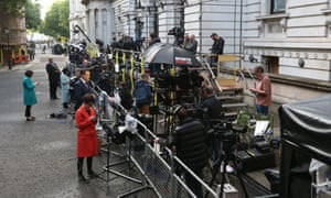 Media gather in Downing Street on Friday morning following the shock election result.