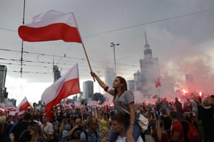Warsaw, Poland. People attend celebrations to mark the 77th anniversary of the Warsaw Uprising