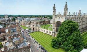 Aerial view of part of Cambridge university