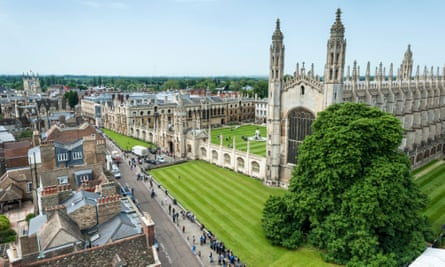 Aerial view of Kings College Chapel and kings Parade Cambridge