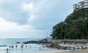 A group ocean swim at Manly beach.