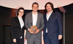 Winner of Best Producer, Johnny Murt of the Padstow based company, Murt's Shellfish, with Sue Perkins and Jay Rayner