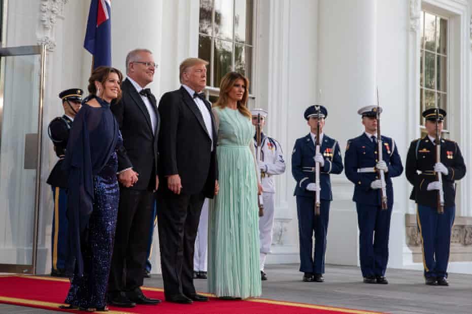 Mr. and Mrs. Trump meet with Mr. and Mrs. Morrison as they attend a state dinner.