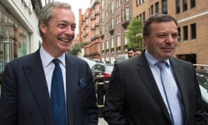 GO campaigners Nigel Farage (left) and Arron Banks. Banks has abandoned plans to contest in court the decision not to make GO the lead Brexit campaign and Farage said this would be a mistake.