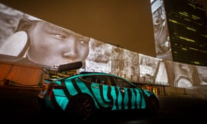 The Tesla car Leilani Münter drives in Racing Extinction, New York.