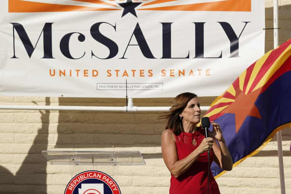 Senator Martha McSally campaigns at Republican party headquarters in Phoenix, Arizona, on Monday.