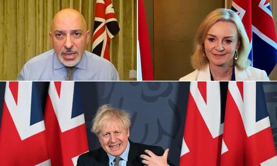 Nadhim Zahawi, Liz Truss and Boris Johnson in front of union jacks