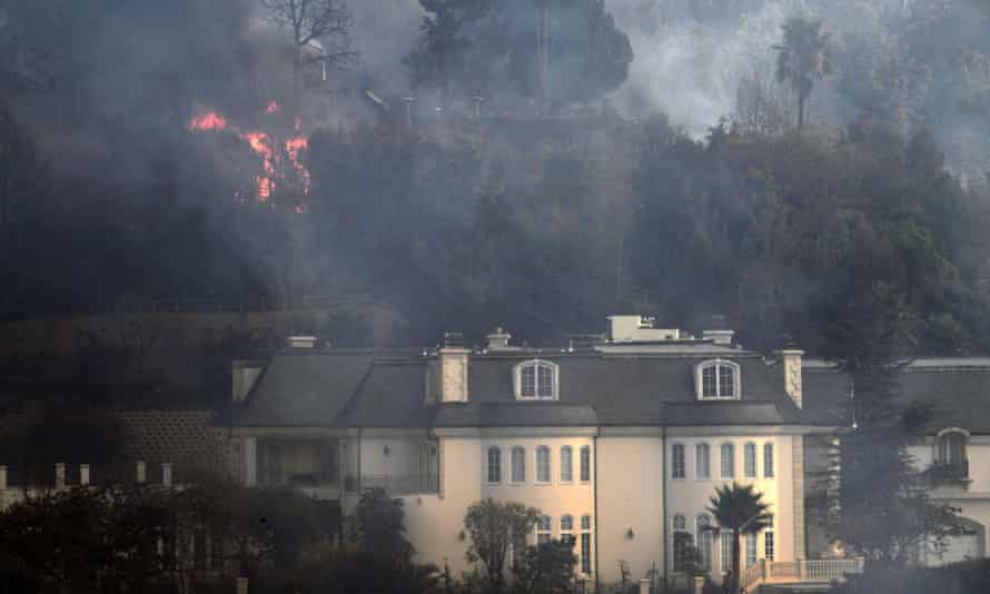 A Bel Air mansion threatened by fire on Wednesday.