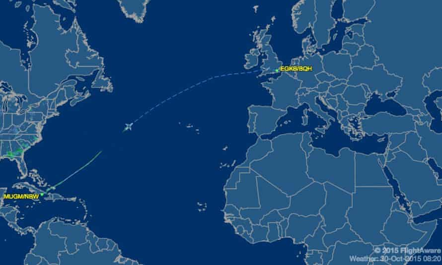 The flight that left Guantánamo Bay for London at 11.30pm.
