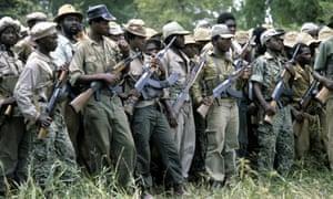 Zanu-PF fighters pictured in 1980