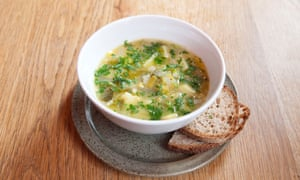 The leek and potato soup served at The French House, Soho, London.
