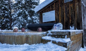 Enjoying the hot tub at Algonquin Eco Lodge