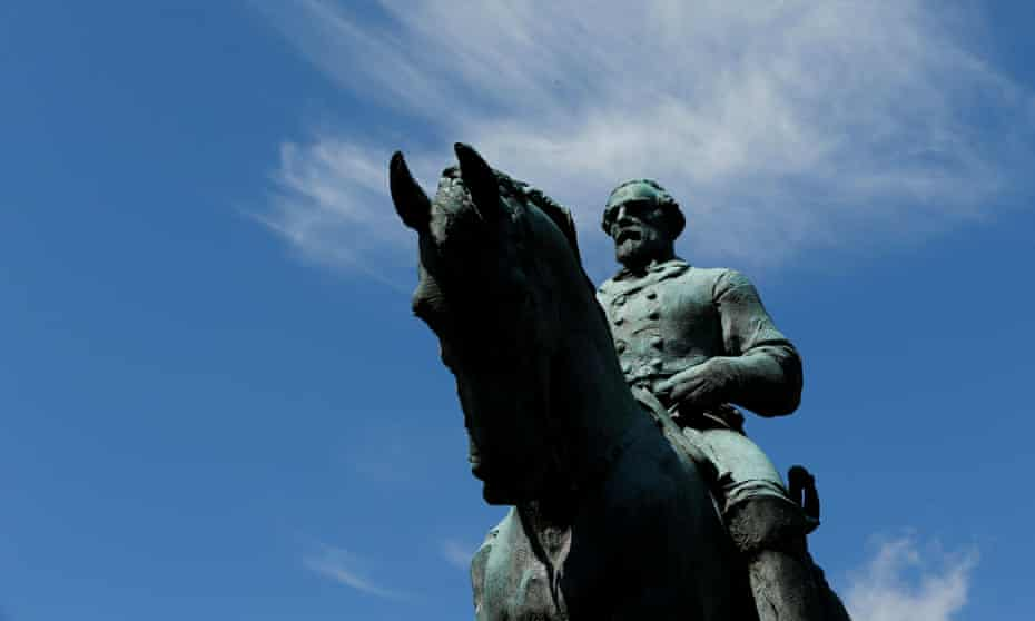 The Robert E Lee statue at the site of last year's violent demonstrations in Charlottesville, Virginia.