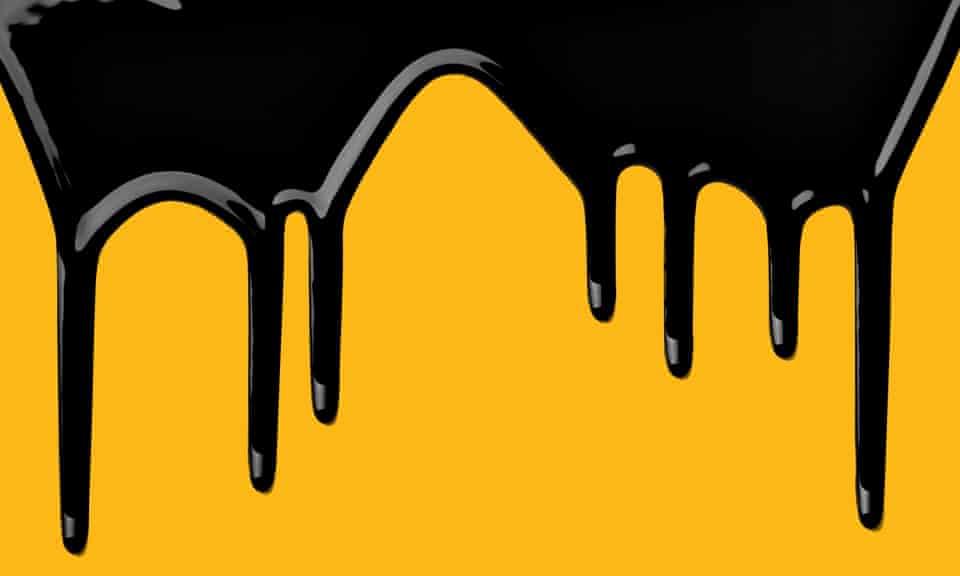 Oil dripping down a logo