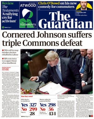 Guardian front page, Thursday 5 September 2019