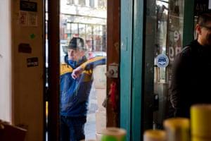 A customer waiting outside