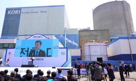 Moon Jae-in speaks at an event to mark the closure of South Korea's oldest nuclear plant, Kori-1.