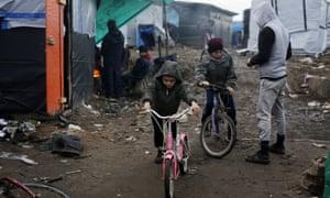 Children in the migrant camp near Calais