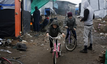 Children in the migrant camp near Calais