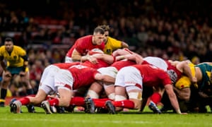 Gareth Davies of Wales puts the ball into the scrum.