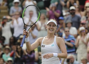 Alison Riske celebrates after defeating Australia's Ashleigh Barty.