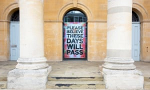 A work by artist Mark Titchner installed in the window of the temporarily closed art gallery Zabludowicz Collection in Chalk Farm, London.