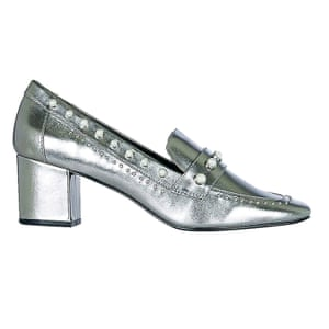 Silver pearl studded heeled loafers Topshop