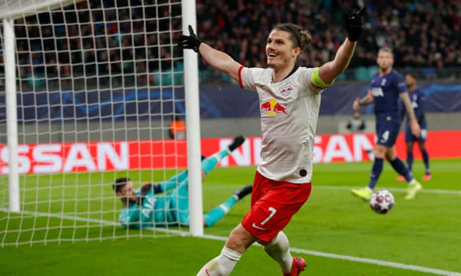 Marcel Sabitzer squeezed a header inside the near post to give RB Leipzig a 2-0 lead.