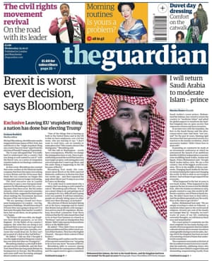 Front page of the Guardian, 25 October 2017