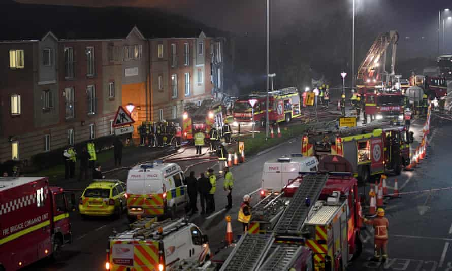 Emergency services at the scene of an explosion at the Bridge Point building in Hornchurch in east London.