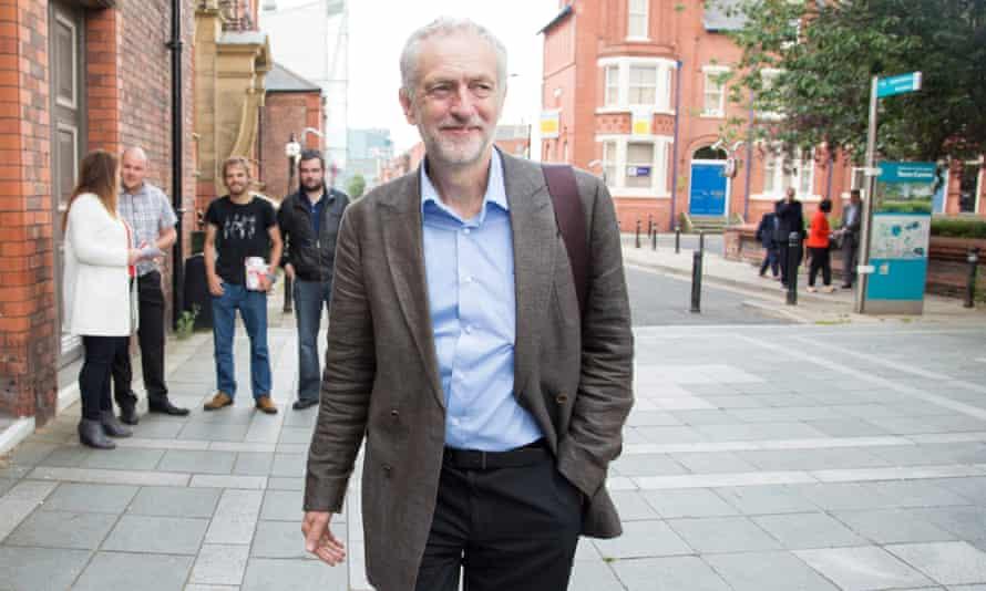 Jeremy Corbyn arrives for a Labour leadership hustings in Warrington, England.
