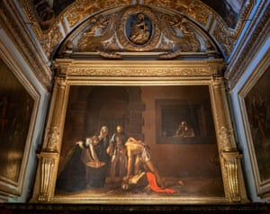 The Oratory with famous Caravaggio painting Beheading of Saint John the Baptist from 1608 in Saint John's Co-Cathedral in Valletta, Malta