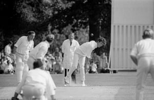 Bob Willis bowling for Surrey in the John Player League match against Warwickshire at July 1970