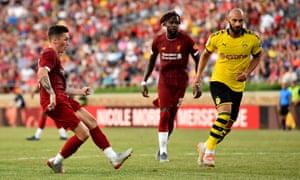 Harry Wilson scores Friday night against Borussia Dortmund.
