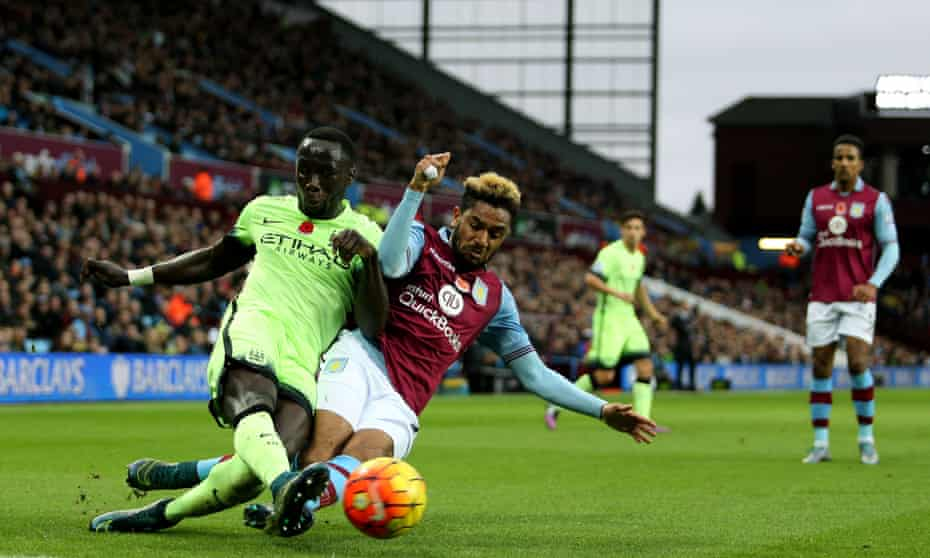 Jordan Amavi and Bacary Sagna during the Aston Villa match against Manchester City