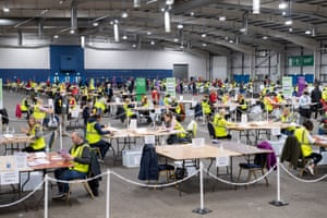 Votes being counted this morning for the Scottish parliamentary elections at the Ingliston Highland Centre, Edinburgh.