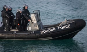 A Border Force RIB on patrol in Dover Harbour.