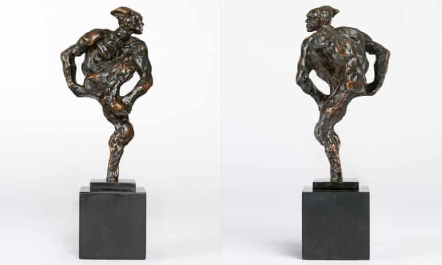 Two views of Auguste Rodin's 1912 sculpture of Vaslav Nijinsky, modelled in plaster and cast in bronze.