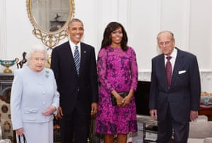 Prince Phillip and the Queen in London today with Barack and Michelle Obama