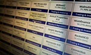 A computer screen featuring cryptocurrency token sales and ICO lists in Berlin