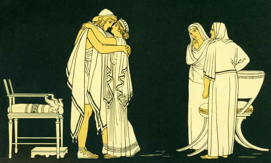 Image of Penelope welcoming her husband Odysseus home in the Iliad.
