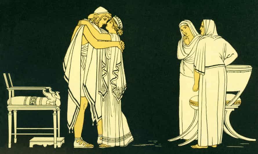 Penelope welcomes her husband Odysseus after he has rid the palace of the suitors.