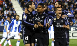 Real Madrid players celebrate during their 4-2 win at Leganés.