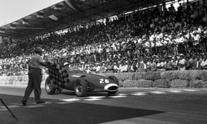 Stirling Moss taking part in the Pescara Grand Prix in a British Vanwall car, 1957.